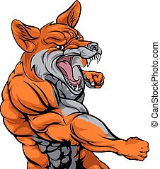 Fox sports fighting - An illustration of a fox animal sports...