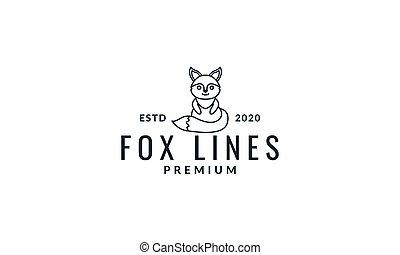 fox stand  cute  cartoon smile line logo icon vector illustration