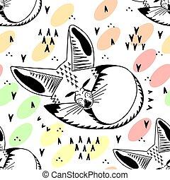 fox., style., mignon, linéaire, gosses, seamless, pattern., ...