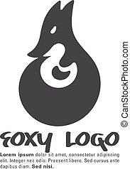 Fox symbol - trendy negative space design