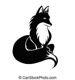 Fox tattoo. Vector illustration, isolated on white.