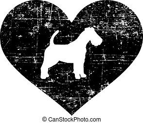 Fox Terrier in heart black and white