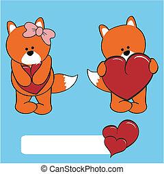 fox valentine cartoon girl and boy