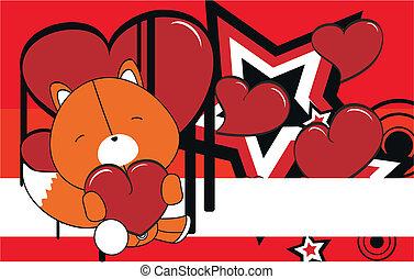 fox valentine plush background