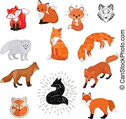 Fox cute vector illustration of animal wild cartoon, flat, sketch design wildlife cute foxy isolated icon on white background