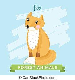 Fox Vector, forest animals.