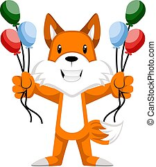 Fox with balloons, illustration, vector on white background.