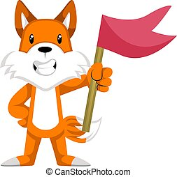 Fox with red flag, illustration, vector on white background.