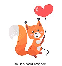 Fox with Red Heart Shaped Balloon in Paws Isolated - Fox...