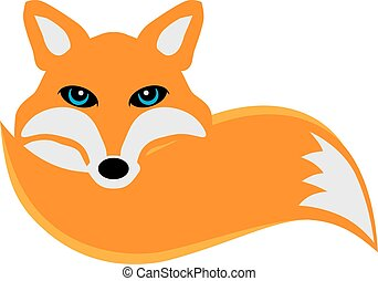 Fox with Tail Illustration - Fox curled up its tail color...
