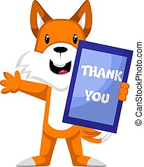 Fox with thank you sign, illustration, vector on white...