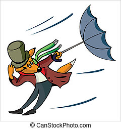 The fox with a umbrella carries away a wind