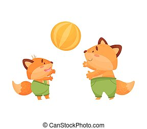 Foxes dad and son play ball. Vector illustration on a white background.