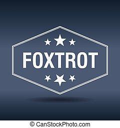 foxtrot, hexagonal, blanco, vendimia, estilo retro, etiqueta