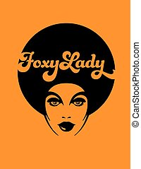 Vector design of funky soul woman with afro on orange background.