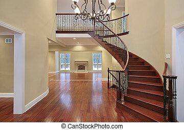 foyer, à, balcon, et, courbé, escalier