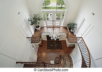 Foyer and second floor landing - Downward view of foyer and ...