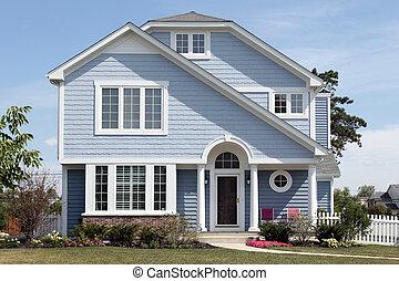 Bleu, gris, trim., maison, moderne, blanc extérieur. Gris ...