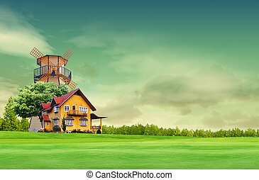 foyer bleu, champ ciel, paysage vert
