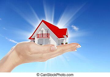 foyer bleu, ciel, mains