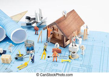foyer bleu, impression, conception, architecture, plan., maison