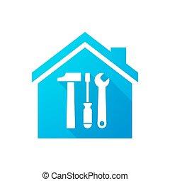 foyer bleu, outillage, ensemble, icône