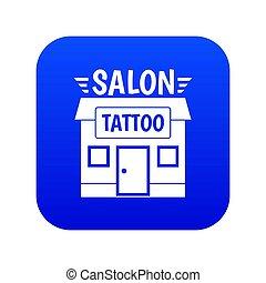 foyer bleu, salon, tatouage, icône