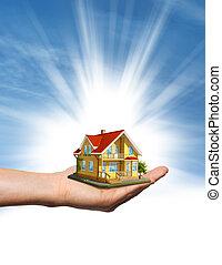 foyer bleu, sur, ciel, main