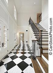 foyer, checkerboard podlaha