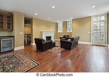 foyer, com, cereja, madeira, chãos