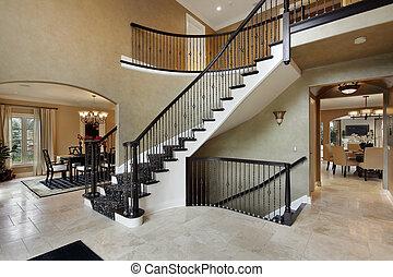 foyer, com, curvado, escadaria