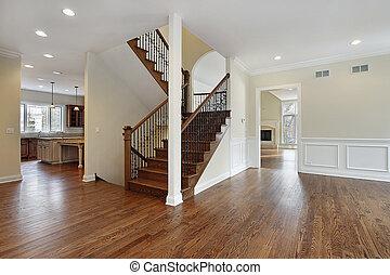 foyer, em, novo, construção, lar