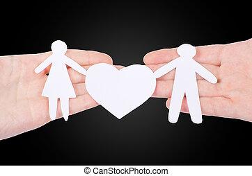 foyer, famille, grand, isolé, main, papier, blanc