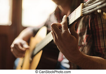 foyer., gros plan, créativité, guitare, acoustique, jouer, homme