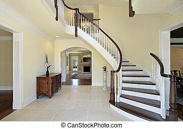 foyer, hos, krummet, trappe