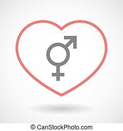 foyer, icône, ligne, symbole, transgender