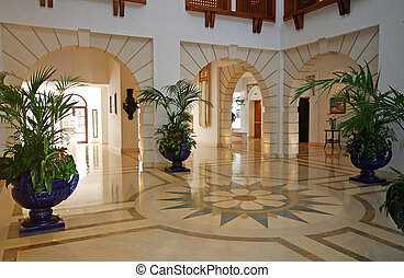 Foyer in luxury mansion - Grand foyer with marble floor in...