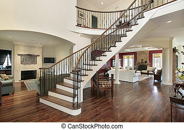 Foyer in open floor plan - Foyer with staircase and open ...