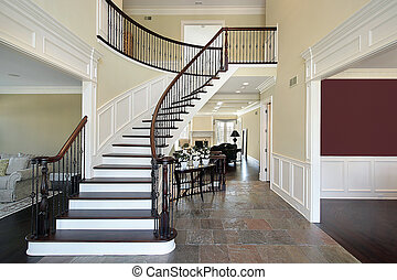 Foyer in open floor plan - Foyer with views of livng family ...