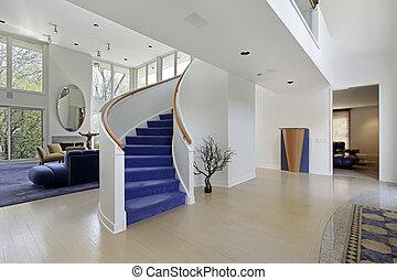 foyer, ind, moderne, hjem