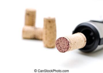 foyer peu profond, macro, de, a, bouteille vin