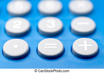 foyer peu profond, macro, de, boutons, sur, a, calculatrice