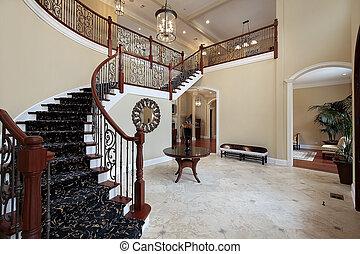 foyer, w, luksus dom