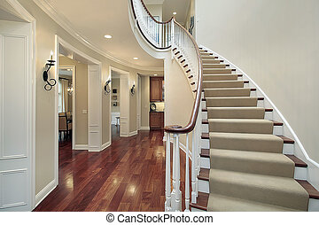 Foyer with butler\'s pantry - Foyer in luxury home with...