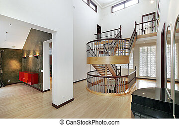 Foyer with double staircase - Foyer in upscale home with ...