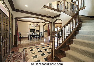 Foyer with floor design - Foyer in luxury home with floor ...