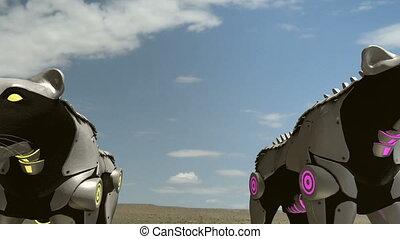 fps, -, robot, panthères, 24