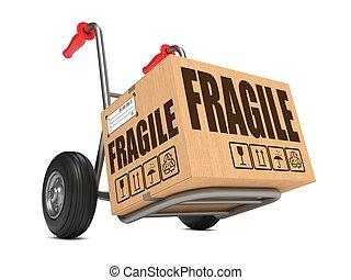 frágil, -, caja de cartón, en, mano, truck.