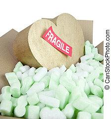 frágil, coração, com, adesivo