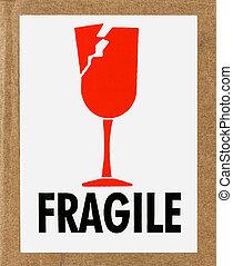 frágil, etiqueta